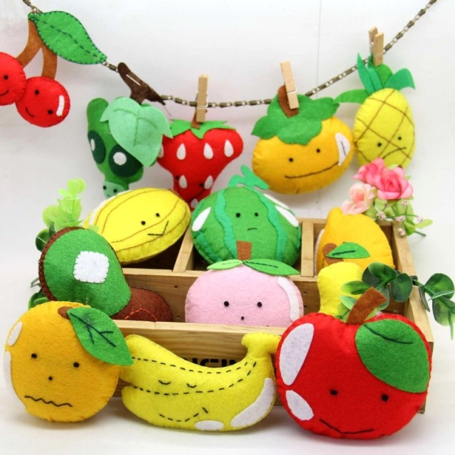 14pcs/set Handmade Felt Cloth Fruit Set Free Cutting Felt Fruit Cloth Material DIY Package For Kids Toys