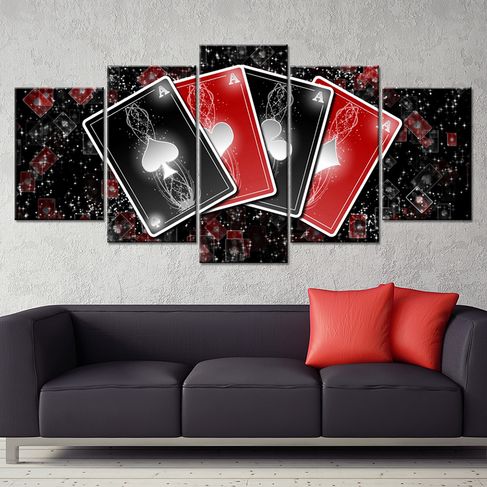Modern Canvas Living Room Frame Artwork HD 5 Panel Playing Cards Home Decor Printed Pictures Painting Wall Art Modular Poster