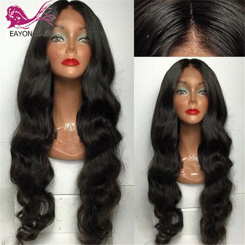 EAYON 5*4.5 Silk Top Glueless Lace Front Human Hair Wigs Brazilian Body Wave Pre Plucked With Baby Hair Remy Hair Wig For Women
