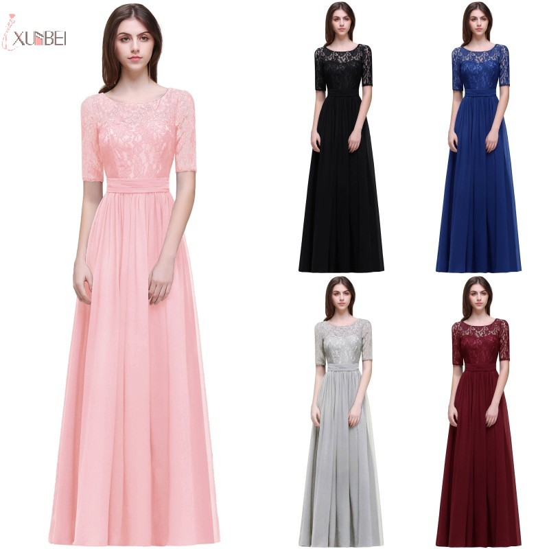 2019 Pink Burgundy Navy Blue Chiffon Long Bridesmaid Dresses Scoop Neck Half Sleeve Wedding Party Gown