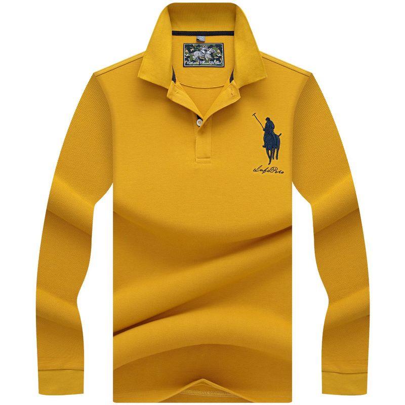 3D Broderie   Polo   Casual   Polo   de Chemises hiver hommes A manches Longues   polo   chemise 2018 de Haute Qualite Solide couleur Hommes