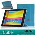 Para el cubo talk 9x case stand case cubierta de cuero inteligente para 9x u65gt cube talk 9.7 pulgadas tablet funda cubierta case + screen protectores