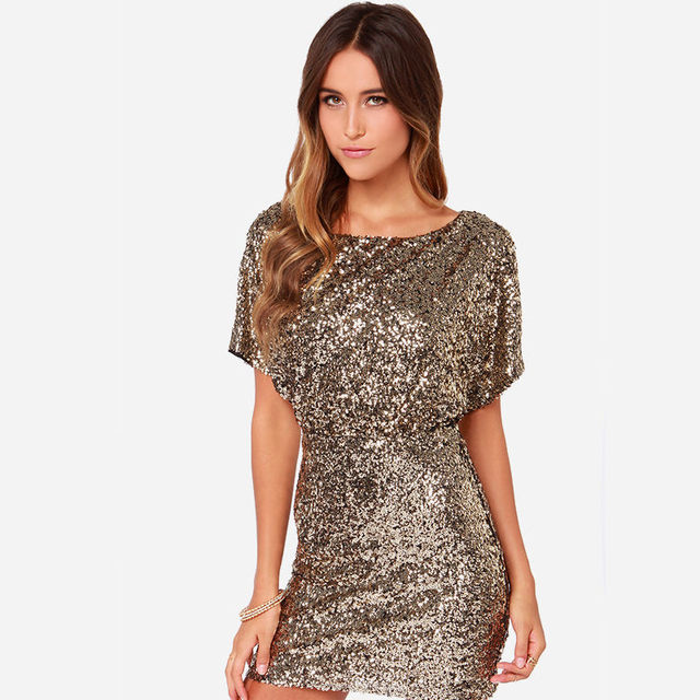 Christmas Party Gold Sequin Fabric Women Dresses Short Sleeve Summer Key  Hole Back Bodycon Dress Vestidos 81bad53b042c
