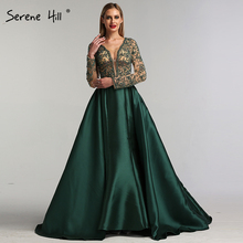 Green V-Neck Satin Dresses Long Sleeves Pearls Serene Hill