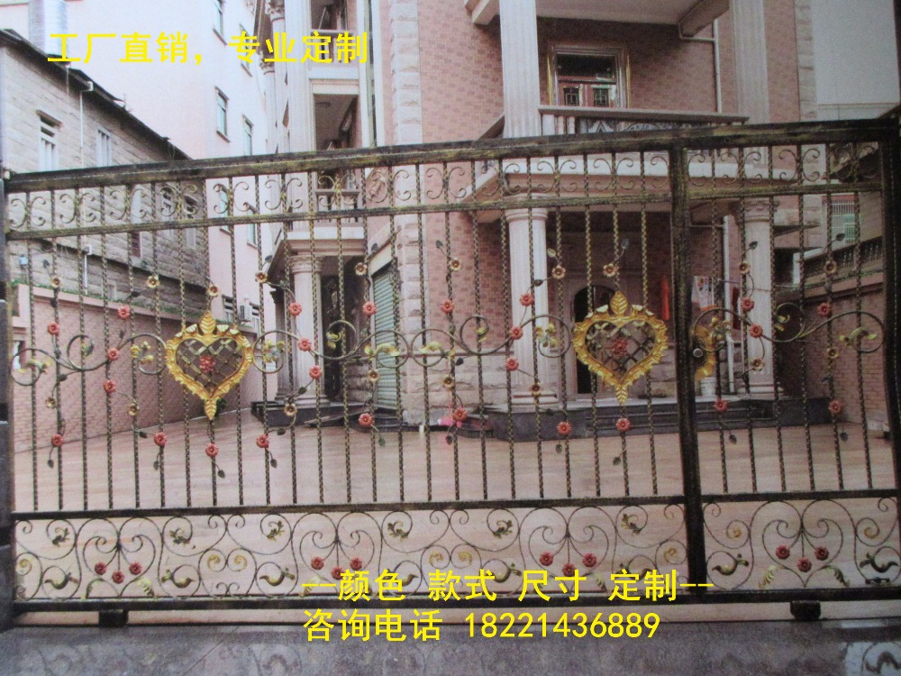 Custom Made Wrought Iron Gates Designs Whole Sale Wrought Iron Gates Metal Gates Steel Gates Hc-g51