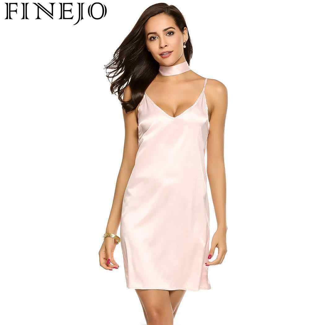 b71382f2455 Detail Feedback Questions about FINEJO Spaghetti Sexy Women s Strap  Backless Solid Satin Loose Mini Dress with Choker on Aliexpress.com