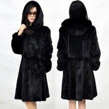 2017 на осень-зиму женские имитация пальто с мехом с длинными рукавами с капюшоном Толстая длинная теплая имитация норки пальто куртка из искусственного пальто