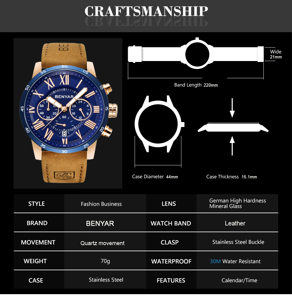 HTB1qSGRXvc3T1VjSZLeq6zZsVXaY 2019 Top Luxury Brand BENYAR Fashion Blue Watches Men Quartz Watch Male Chronograph Leather WristWatch Relogio Masculino
