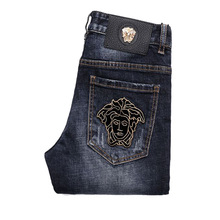 Men's Dark Blue Medusa Embroidered Slim Feet Denim Pants Spring and Summer Men's Jeans