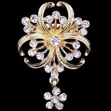 Broche Estilo Vintage perla y cristal con tono dorado broche boda fiesta regalo
