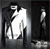 Мужская мода личности ds черный и белый цвет блока украшения кожаная одежда костюм мужской мотоцикл кожаная куртка пальто