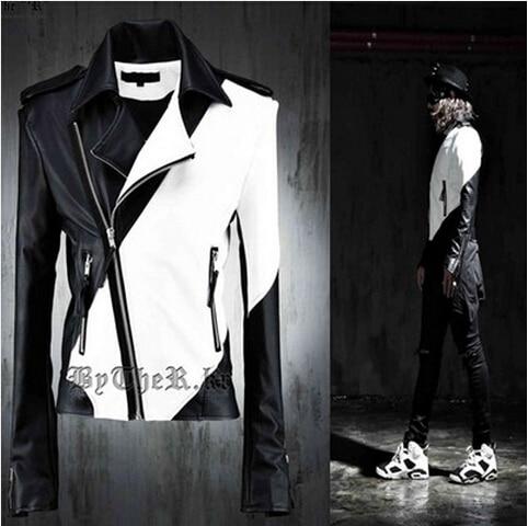 Hommes mode personnalité Ds noir et blanc couleur bloc décoration cuir vêtements Costume mâle moto cuir veste manteau