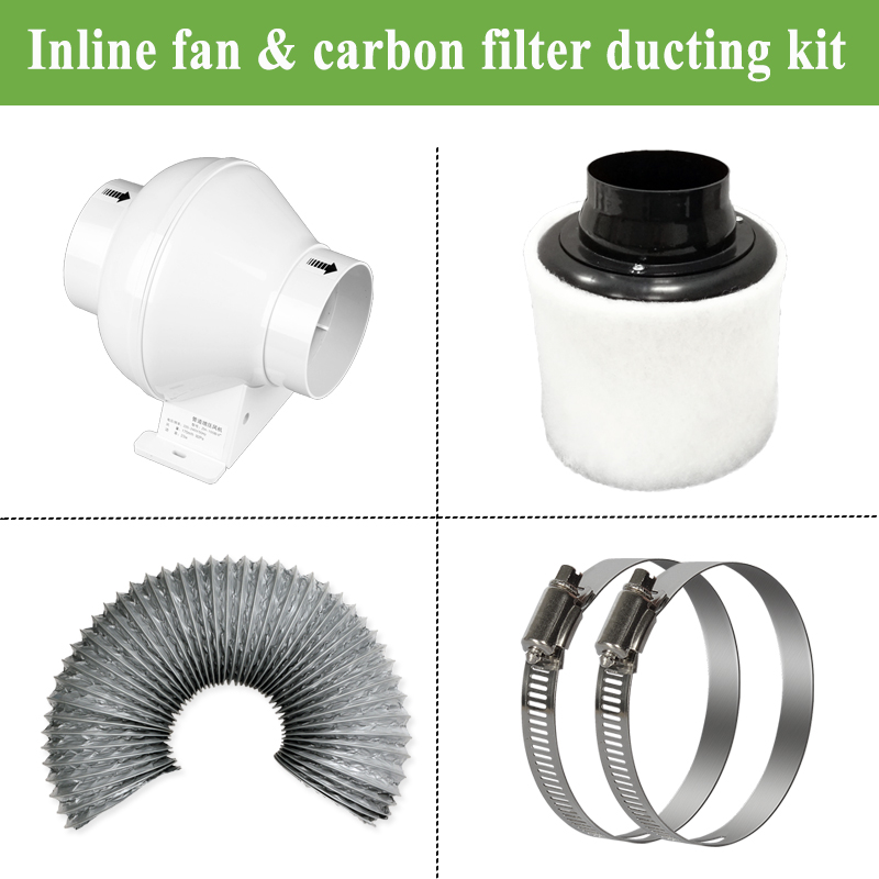 4 inch Inline duct Fan ducted ventilator Carbon Air Filter Ducting for Complete Grow Tent Kits