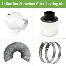 4 дюйма рядный канальный вентилятор Канальные Вентилятор& воздушный фильтр с активированным углем и утяжка для полный расти палатку Наборы для выращивания растений