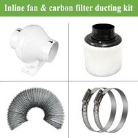4 inch Inline duct Fan ducted ventilator& Carbon Air Filter&Ducting for Complete Grow Tent Kits Plant Growing