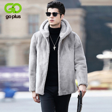 GOPLUS 2019 Winter Mens Faux Fur Hooded Jacket Gray Soft Artificial Mink Coat Thick Warm Male Business Coats Man