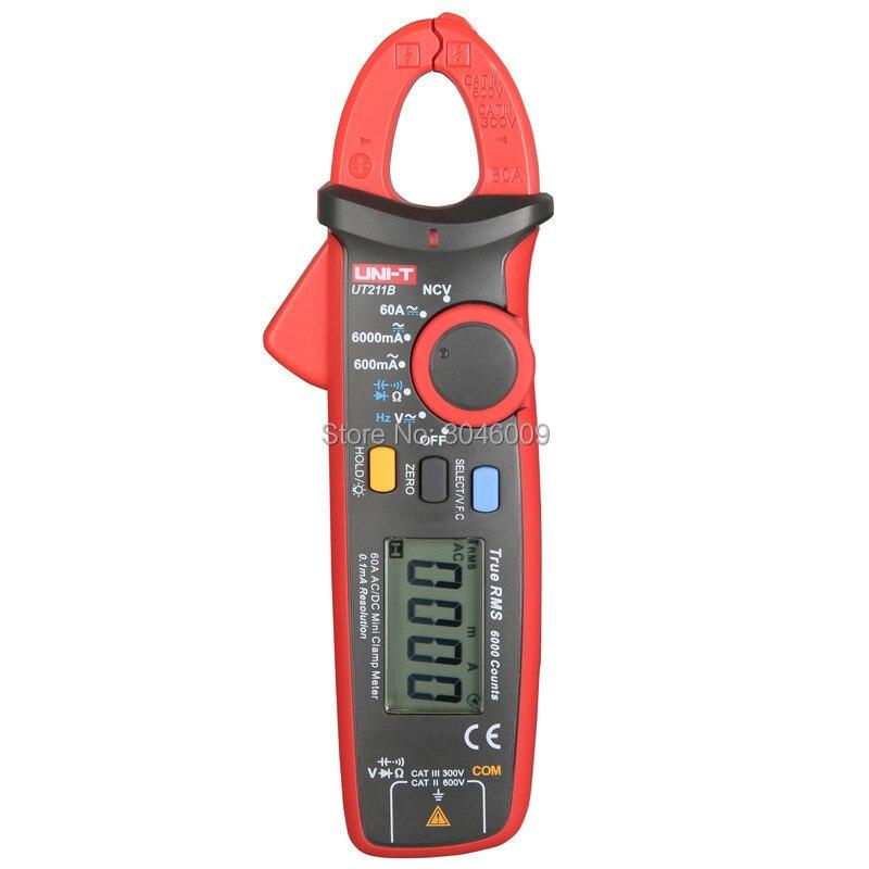 UNI TUT211 серии 60A True RMS мини клещи/VFC Измерение частоты/NCV/ЖК подсветка/UT211B амперметр - 3