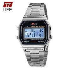 TTLIFE Hombres Reloj LED Display Digital 30 M Resistente Al Agua de Oro Auto Fecha Alarma Deportes Moda Relojes de Pulsera Hombres Relogio Masculino