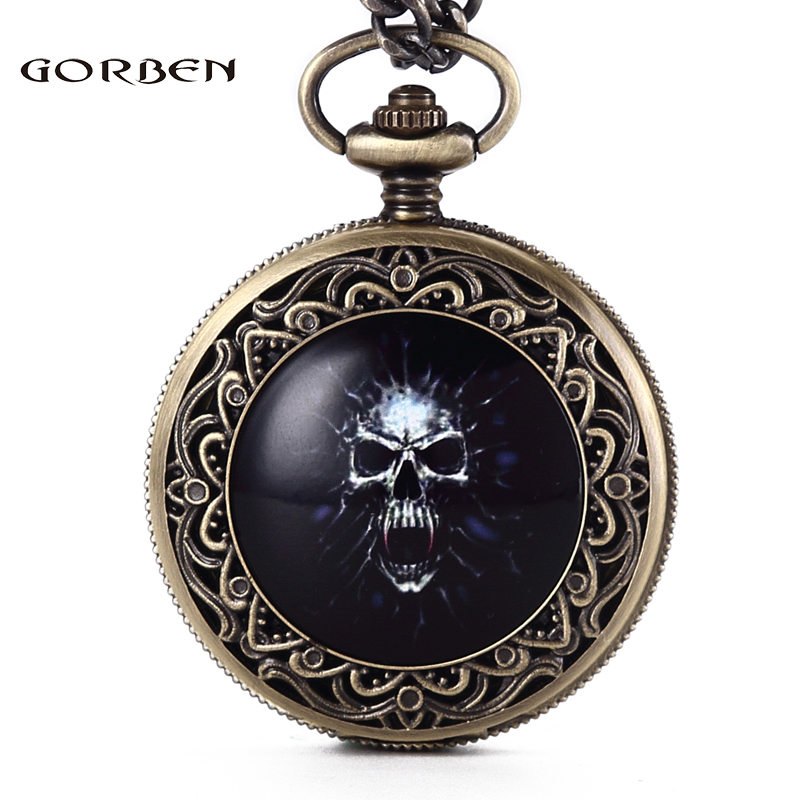 Gorben Vintage Men Watch Unique Skull Design Quartz Pocket Watches Steampunk Cool Watch Fob Chain Necklace Men Gifts With Box vintage watch steampunk men skeleton mechanical fob pocket watch clock pendant hand winding men women chain with gift box