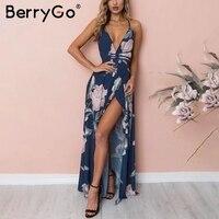 BerryGo Bohemian Chiffon Print Women Dress Backless V Neck Sleeveless Beach Summer Dress High Waist Lace