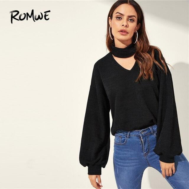 e1c218f674c ROMWE Choker Neck Bishop Sleeve Pullover 2019 Black Fashion Women Spring  Autumn Sweatshirt Stylish Streetwear Long Sleeve Tops