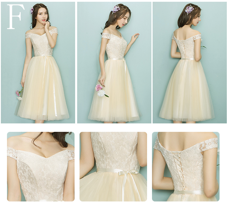 bride maids dress tea length capped lace ball gown bridesmaid party ...