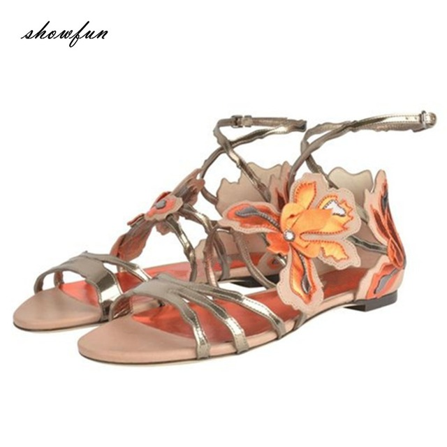 Womens Summer Flat Heels Bohemia Open Toe Fashion Beach Sandals Plus Size A267