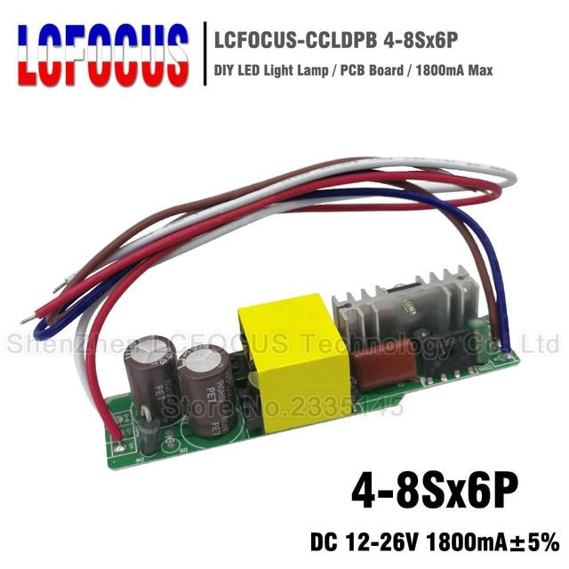 2 piezas 4-8Sx6P Controlador LED 1800mA 12-26 V 24 V 30 a 36 42 48 W Watt iluminación transformadores para 24 W 30 W 36 W 42 W 48 W, luz de Panel