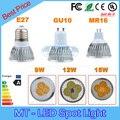 Retail lampada led 9 W 12 W 15 W lámpara led E27 GU10 MR16 GU5.3 E14 B22 regulable bombillas led 85-265 V MR16 12 V del punto del led luz