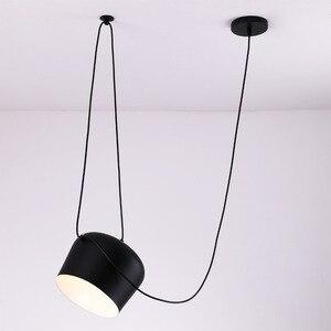 Image 3 - อุตสาหกรรมอลูมิเนียมแมงมุมจี้โคมไฟอะคริลิคสีดำสีขาวLEDแขวนโคมไฟเพดานสำนักงานCafe Bar Decor
