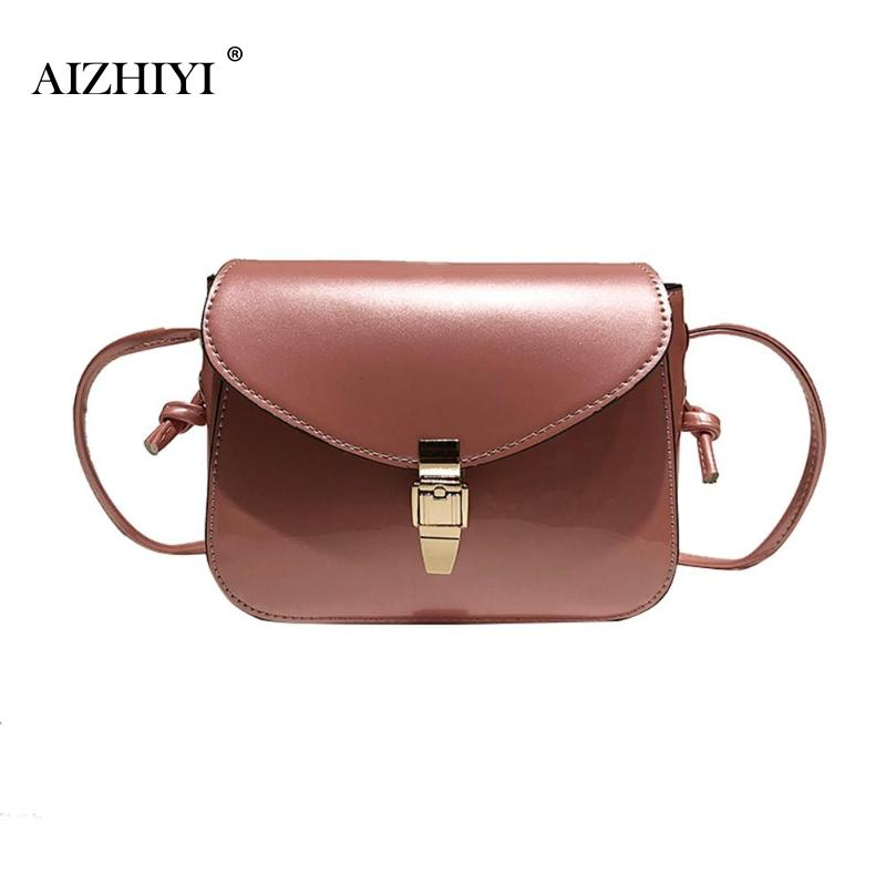Women Ladies Patent PU Leather Shoulder Bags Clutch Small Square Pure Color Casual Messenger Crossbody Handbags
