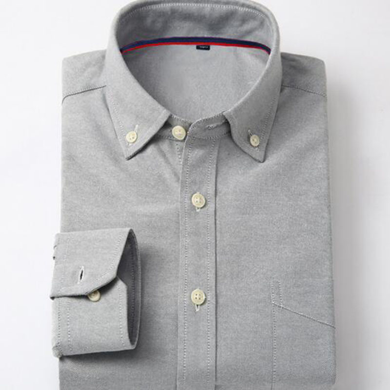 Men Smart Casual Long Sleeve Single Breasted Shirts Camisa,solid Color Pure Cotton Oxford Breathable Comfortable Soft Shirts