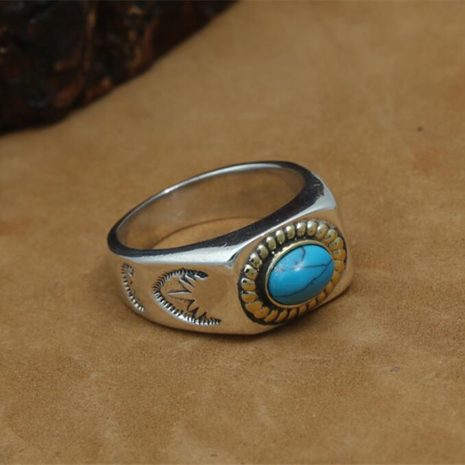 100% Pur 925 Bague En Argent Sterling Hommes Bleu Naturel Pierre Vintage Indien Style Épais Bande Anneau Hommes Thai Argent Bijoux, 15g