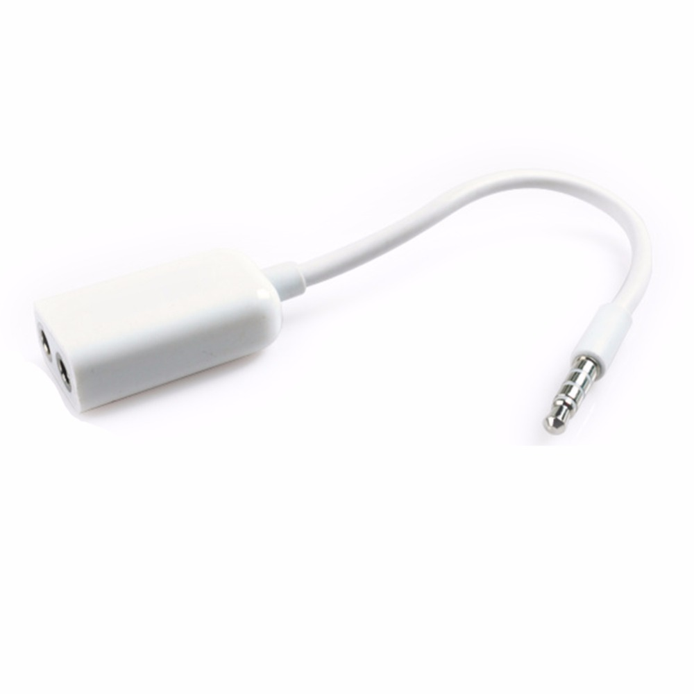 Mini White Color Universal 3.5mm Jack 1 Male to 2 Female Audio Headphone Earphone Spliter Cable For Lovers