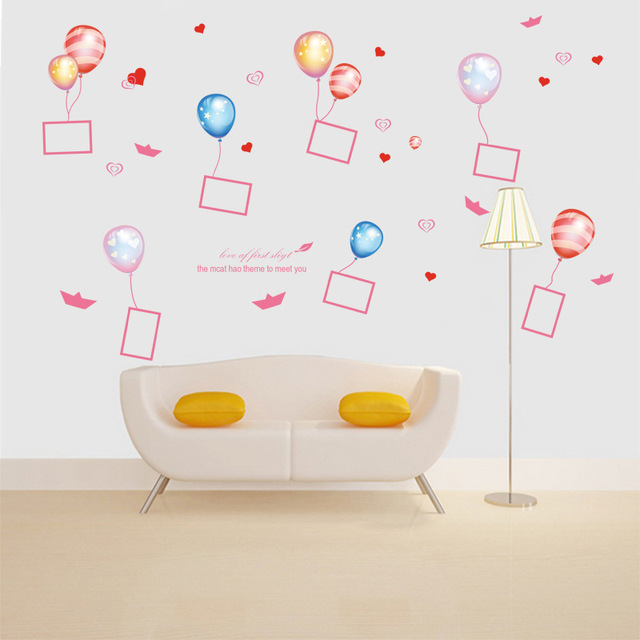 Balloon Photo Frame Wall Stickers For Kids Rooms Vinyl Wall Sticker
