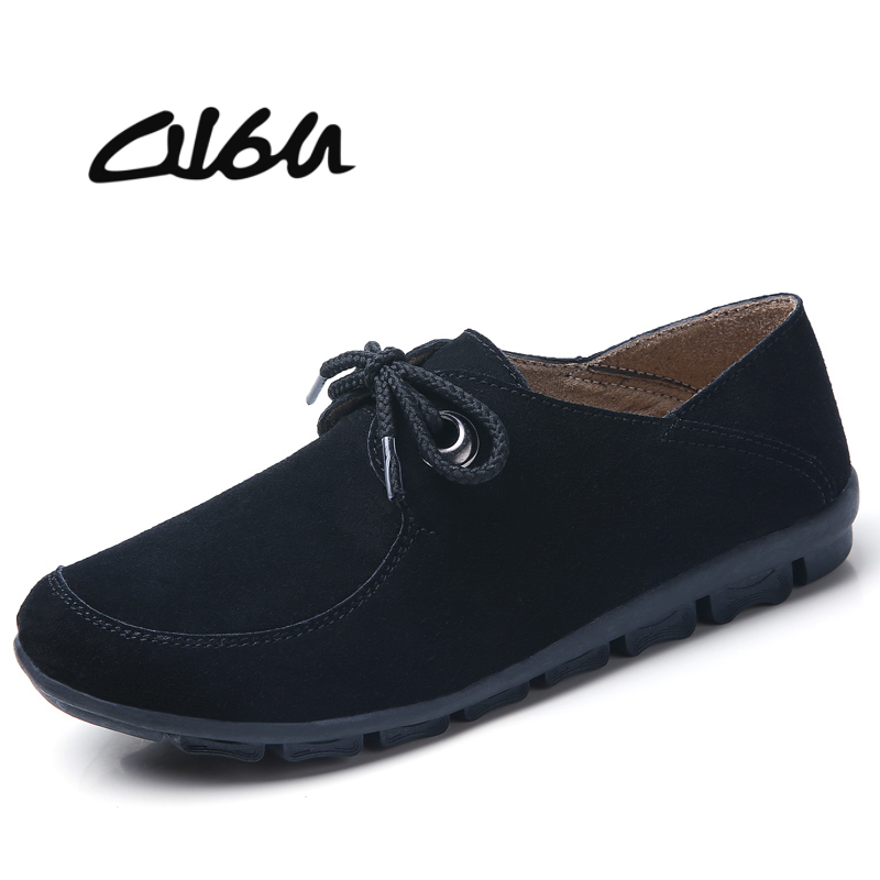 O16U Autumn Sneakers Women Flats Shoes Lace up Moccains Ladies Black Oxfords Casual boat Shoes   Suede     Leather   Loafers flat Spring
