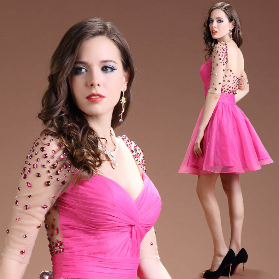 Women half sleeve pink cocktail dress 2015china dressbackless women half sleeve pink cocktail dress 2015china dressbackless dressed for festapartyspecial occasion bling ball gown in cocktail dresses from weddings ombrellifo Images