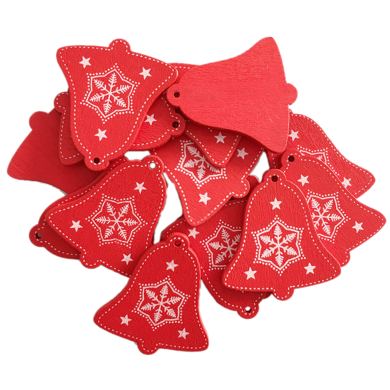 New Year 2020 Christmas Snowflake Wooden Pendant Xmas Tree Decorations for Home Wood Hanging Crafts Navidad 2019 Noel Natal Deco 22