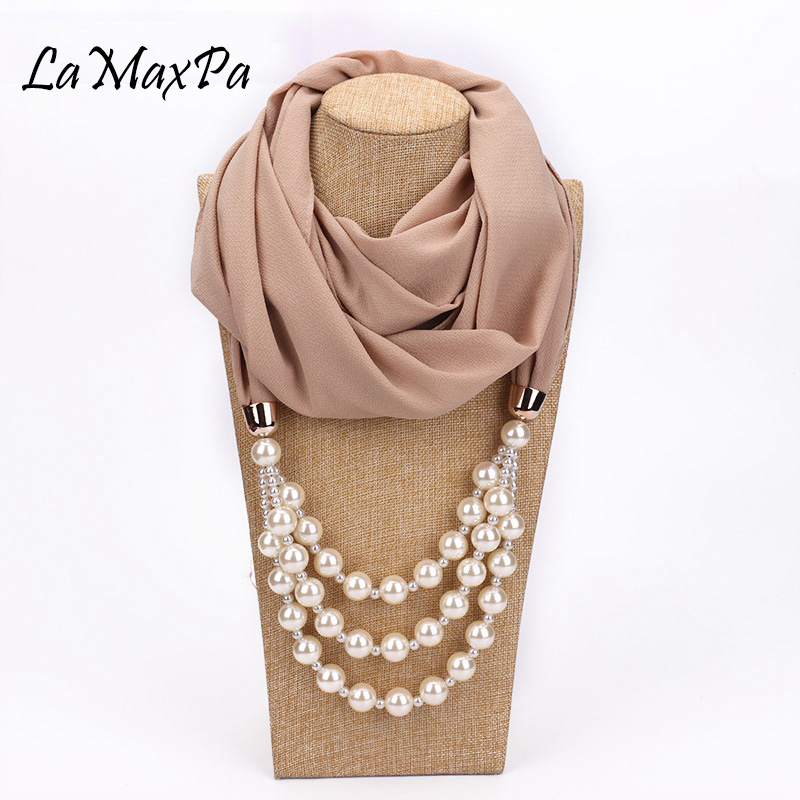 LaMaxPa New Women Hijab Soft Solid Chiffon Pendant Jewelry   Scarf     Wraps   Pearl Mujer Necklaces Bufanda Lady Female Elegant Foulard