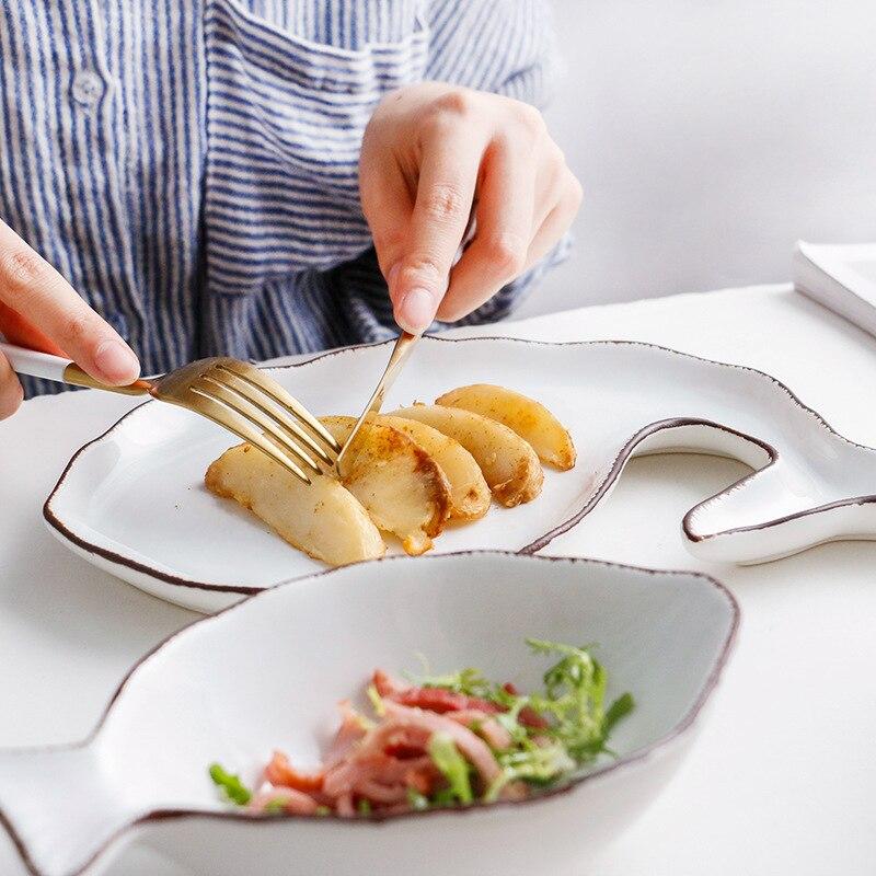 Ensemble d'assiettes en céramique de Style Ocean | Assiette à poisson coquille de poisson, plat à poisson étoilé bol à trompette en porcelaine bleue blanche, articles de table AKUHOME 7 - 4