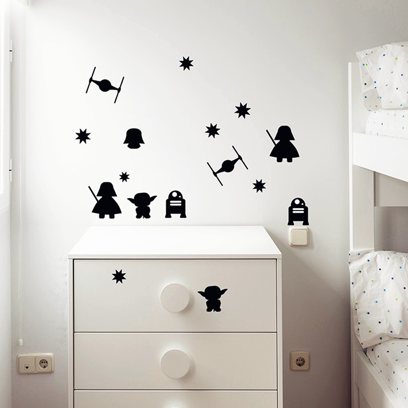 15pcs set Star wars picture wall stickers decal for kindergarten nursery kids room decoration