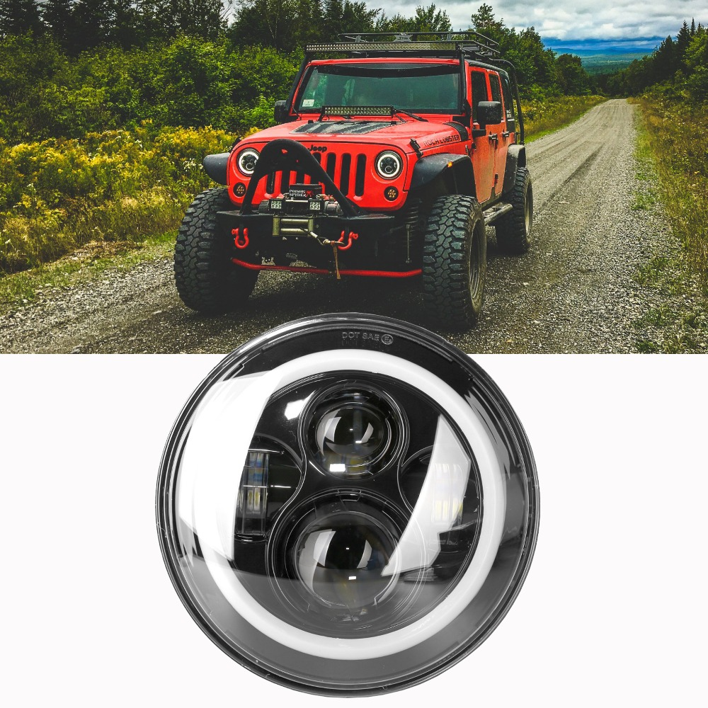 For Rubicon Led Headlight 7 Inch LED Headlights High Low Beam Angel Eyes DRL Amber white blue Turn Signal for Jeep Wrangler JK 2pcs 7 inch round led headlight with white amber lighting color drl 7 high low beam headlamp for jeep wrangler