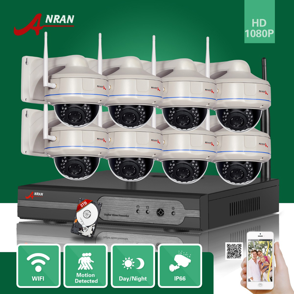 ANRAN Onvif 2MP H.264 HD Outdoor WIFI Wireless 25fps 1080P Network IP Security Camera 8CH NVR Surveillance System With 3TB HDD 8ch 5mp 3mp 1080p h 264 onvif wifi 3g with smart function nvr