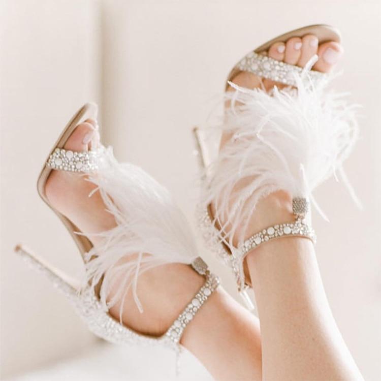 New Fashion Bridal Wedding Shoes Crystal Embellished White Feather Fringed Rhinestone High Heels Woman Stiletto SandalsNew Fashion Bridal Wedding Shoes Crystal Embellished White Feather Fringed Rhinestone High Heels Woman Stiletto Sandals