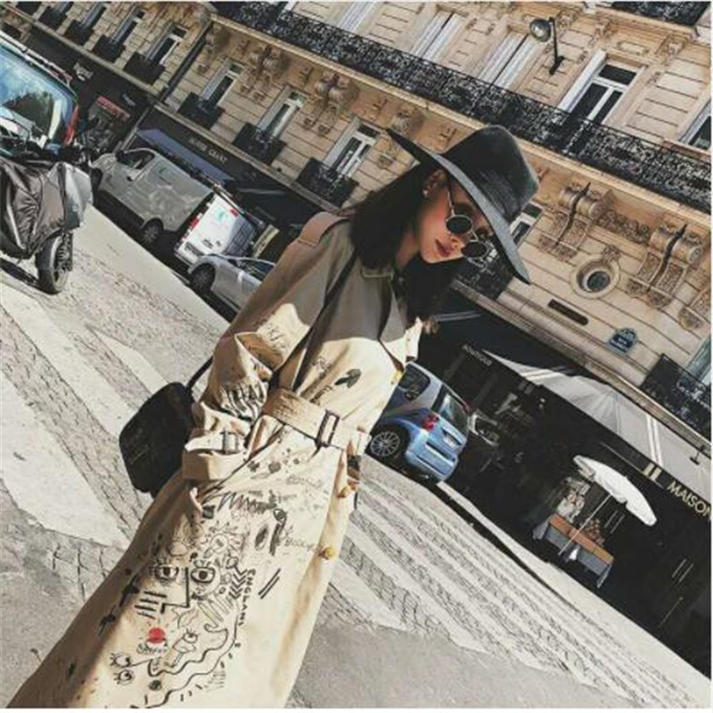 trench   coat for women cotton long   trench   coatdouble-breasted coat women winter printing Graffiti Khaki With Belt Outerwear Slim