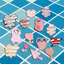 Pink pins collection Heart Ribbon winding Pink Pig Funny Kid umbrella Lapel pins Badges Enamel Brooch Decoration for friend(China)