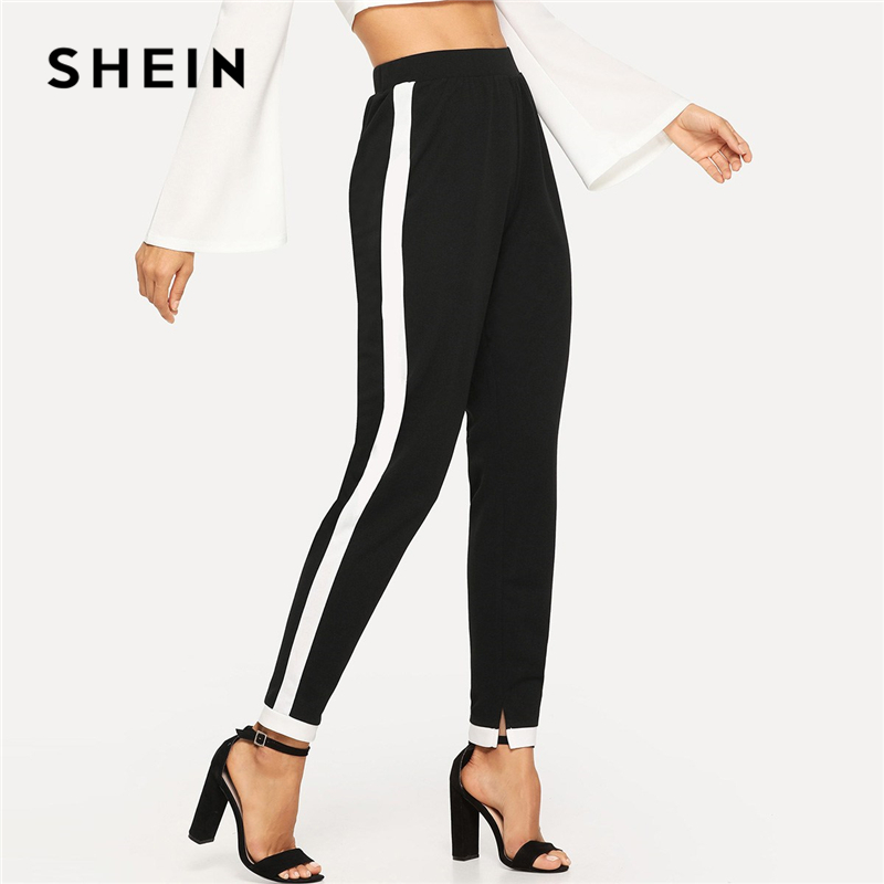 SHEIN Black Morden Lady Contrast Trim Split Hem Elastic Waist Mid Waist Carrot Pants 2018 Autumn Casual Workwear Trousers 1