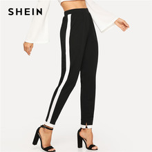 c8bb216e67 SHEIN Black Morden Lady Contrast Trim Split Hem Elastic Waist Mid Waist  Carrot Pants 2018 Autumn Casual Workwear Trousers