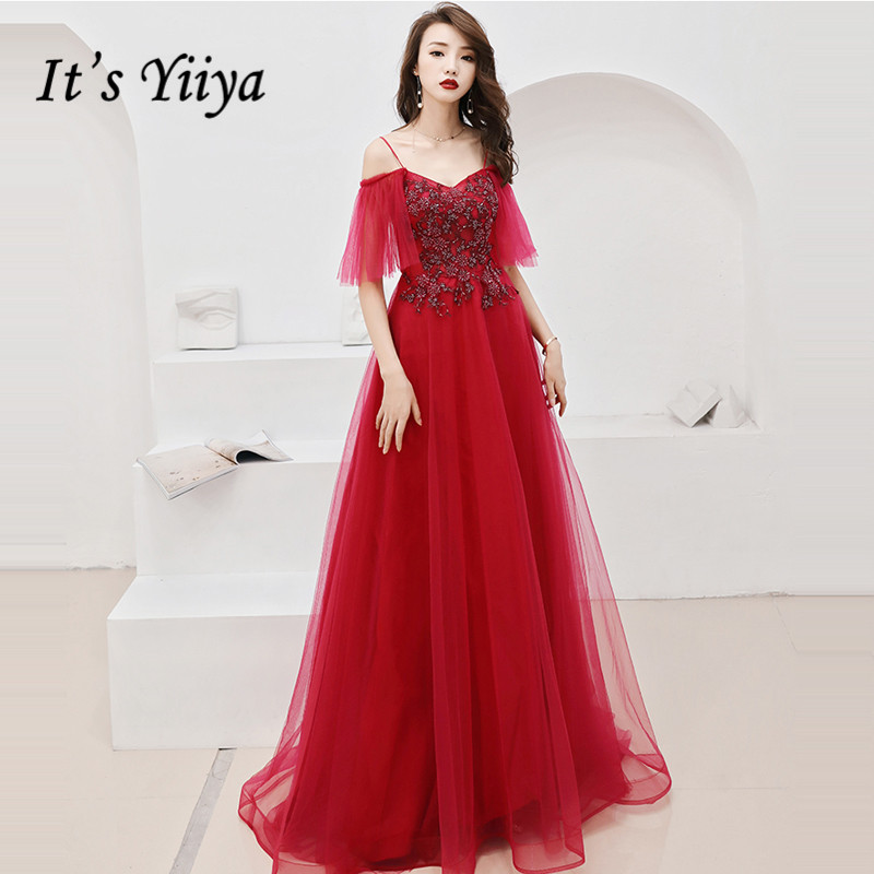 It's Yiiya Evening Dress Boat Neck Vintage Burgundy Long Robe De Soiree Embroidery Small Train Women Party Night Dresses E753