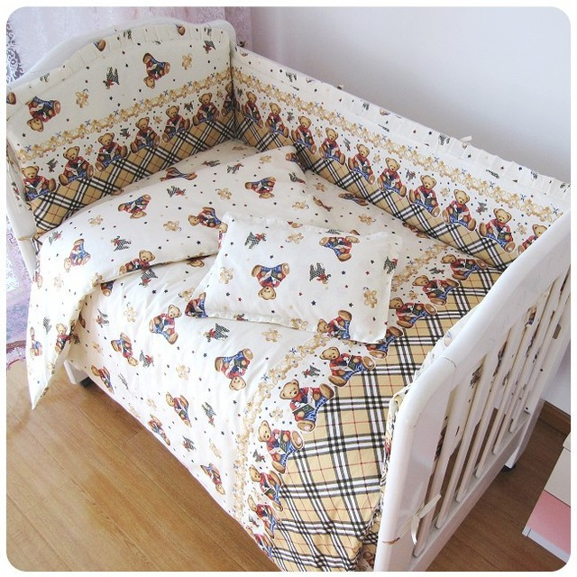 Promotion! 6PCS Bear Baby bedding Bed Linen crib set bedding Baby Bed Set 100% cotton (bumpers+sheet+pillow cover)